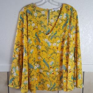 Rose + Olive yellow and green BOHO tunic SIZE XL